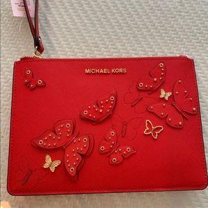 NWT Butterflies Michael Kors red pouch Wristlet